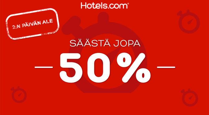 Hotels.comin 72 tunnin alennusmyynti on alkanut